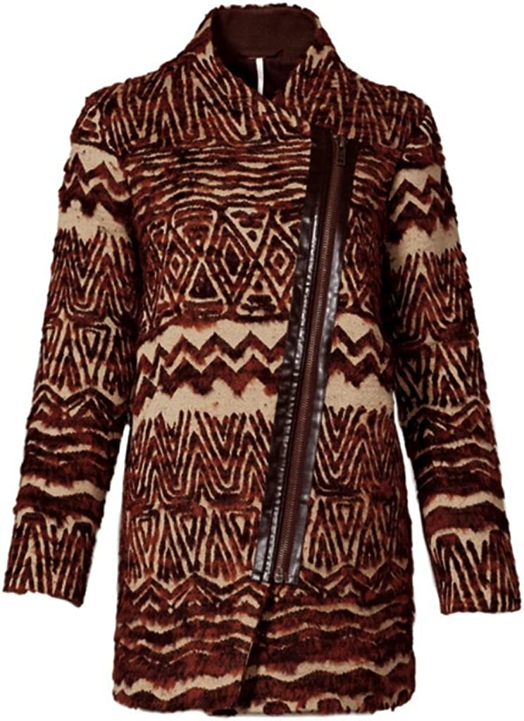 Free People Patterned Faux Fur Coat