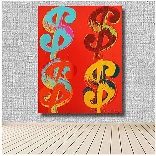 NIEMENGZHEN Leinwandmalerei Vier Papierdollar Andy Warhol Kunstdrucke auf Leinwand für die Wohnkultur im Wohnzimmer 50 x 70 cm (19,6 x 27,5 Zoll) ohne Rahmen