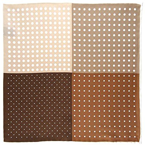 Multi pañuelo en marrón oscuro beige blanco lunares - 100% de seda