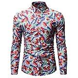 Owenqian Hombre Camisas, Hip Hop Tie Dye botón a presión Camisas de Manga Larga Hombres Moda Casual Streetwear Camisa de Vestir Abrigos Hombre Hipster Camisas Tops