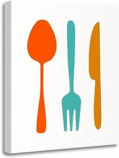 TORASS Canvas Wall Art Print Teal Retro Eat Mid Century Modern Orange 50S Artwork for Home Decor 12