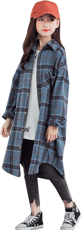 Deeorla Little Big Girls Long Plaid Shirt Long Sleeve Button Down Shirt Dress 3-12Years