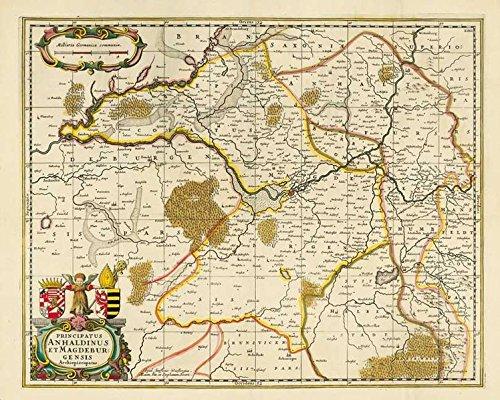 Historische Karte: Das Fürstentum Anhalt und das Erzbistums Magdeburg 1647 - Plano: Kartuscheninschrift: Principatus Anhaldinus et Magdeburgensis Archiepiscopatus