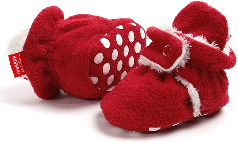 Bebila Warm Fleece Booties for Baby Girls Boys Non-Slip Soft Soled Winter Snow Boots Shoes Cozy Baby Slippers