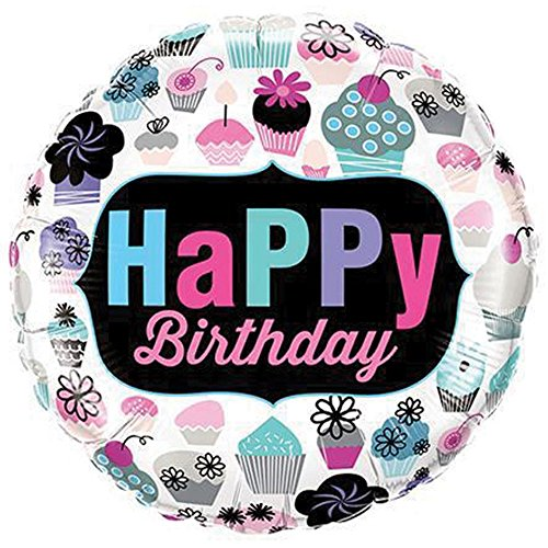 Qualatex Birthday Cupcakes Runder Folienballon (46cm) (Bunt)