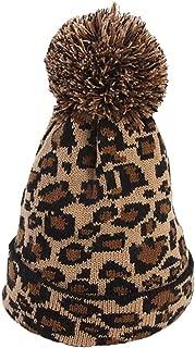 Faux Fur Ball Hat Fashion Women Leopard Winter Warm Crochet Knitted Hat Cap Beanie