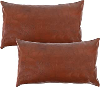 CDWERD Faux Leather Lumbar Throw Pillow Covers 12x20 Inches Farmhouse Boho Rectangle Pillowcase Modern Decorative Cushion Case for Couch Sofa Bed Set of 2