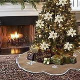 AerWo Burlap Snowflake Christmas Tree Skirt Ornament 48inch Diameter Christmas Decoration New Year Party Supply