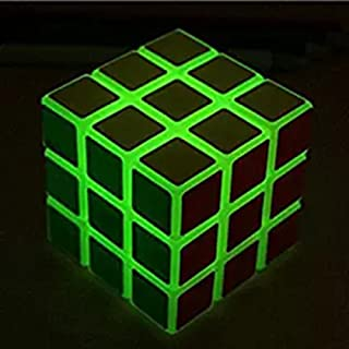 SHUYUE 3x3 Green Fluorescent Speed Cube Glow in Dark Magic Speed Cube 3-D Brain Teasers IQ Puzzles Kids Adults