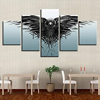 yzbz 5 Canvas Painting Game of Three Eyed Raven Canvas Painting Prints Wall Art Home Decor Picture for Living Room size2:30x40cmx2;30x60cmx2;30x80cmx1-Framed
