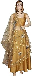 Golden Dupatta Net Chunni Gota Lace Ruffle Border Scarf Stole Hijab Head Wrap Party Wear Wedding Shawl For Her
