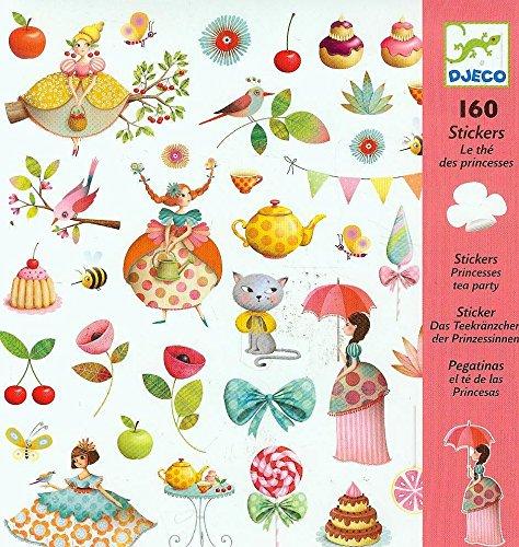 DJECO – Luftballons, selbstklebend, Motiv: Prinzessinnen-Tee, mehrfarbig (100)