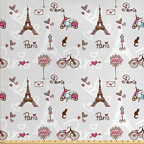 Ambesonne Paris Fabric by The Yard, Romance Language Capital of Love Eiffel Heart Fashion City Girlish Print, Decorative Fabric for Upholstery and Home Accents, 1 Yard, Redwood Pearl