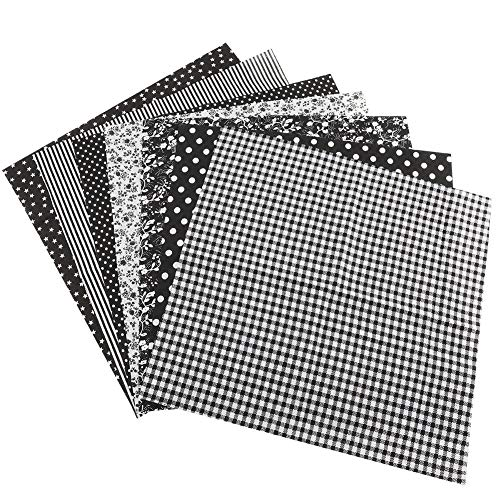 Fdit Baumwollgewebe DIY Verschiedene Quadrate Pre-Cut Bettwäsche Suite Quarters Bundle Schwarz 7 stücke 25 * 25 cm MEHRWEG VERPACKUNG socialme-EU(25 * 25)