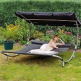 Loywe Sonnenliege Doppelliege mit Dach für 2-Personen Doppel Gartenliege mit Sonnendach für Garten oder Balkon ,200x195x145cm LW22-Schwarz