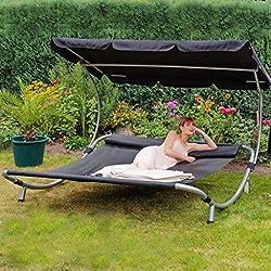 Loywe Sonnenliege Doppelliege mit Dach für 2-Personen (Schwarz)