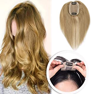 Silk Base Human Hair Toppers for Women Clip in Top Hairpiece Toupee for Tinning Hair (#27 Dark Blonde)