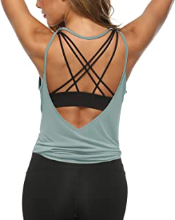 Womens Workout Shirts Sexy Open Back Activewear Workout Clothes Sports Yoga Tank Tops