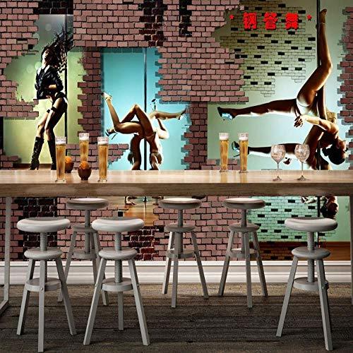 XLXBH 3D behang zelfklevende muurschildering 3D muurschildering 3D Stereo paal dansen Fitness verdere tegel Gym muurschildering achtergrond muurpapier muurschildering, kinderkamer kantoor eetkamer woonkamer decoratieve muur kunst 250x175 cm (WxH) 5 stripes - self-adhesive