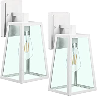 LED Outdoor Wall Lantern, Wall Sconce as Porch Light, (100-150W Equivalent), 1100 Lumen, Aluminum Housing Plus Glass, Matte Finish, Outdoor Rated, (ST64 8W),White for 2Pack 718