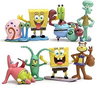 DEVON Muñeca de la película, Bob Esponja Lindo Q Versión Modelado Juguete Micro Paisaje Decoración Regalo de Cumpleaños Set de 8