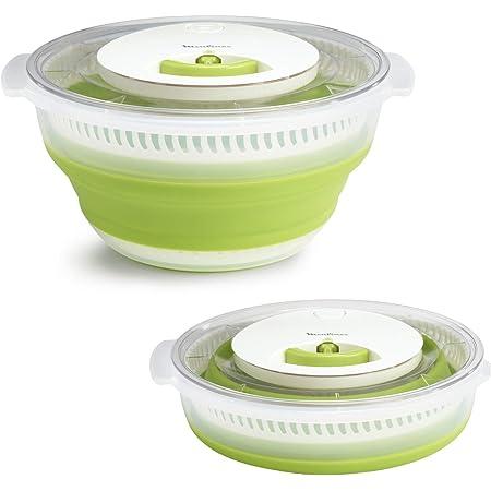 Moulinex Essoreuse à salade rétractable 4 L, Mécanisme à cordon, Tirage sans effort, Gain de place, Compact et pratique, Stable, Bouton d'arrêt, Bol et passoire compatibles lave-vaisselle K2530104