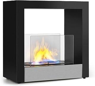 Klarstein Phantasma Cube Chimenea - Quemador de Bio etanol de Acero sin Humos ni olores, Depósito de 1,3 litros, Duración de 4 Horas, Asistente de Apagado, Acero Inoxidable y Vidrio, Negro