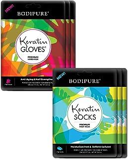 3+3 Keratin Gloves & Socks Premium Hand Treatment & Foot Treatment Masks by Bodipure for Nail Strengthening & Skin Nourish...