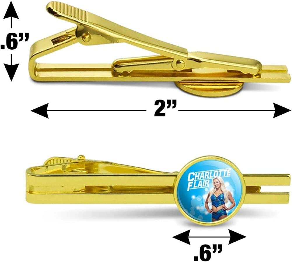 GRAPHICS & MORE WWE Charlotte Flair Glowing Round Tie Bar Clip Clasp Tack Gold Color Plated