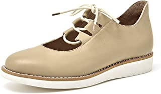 Honeystore Women's Lace-up Flats Leather Round Toe Shoes