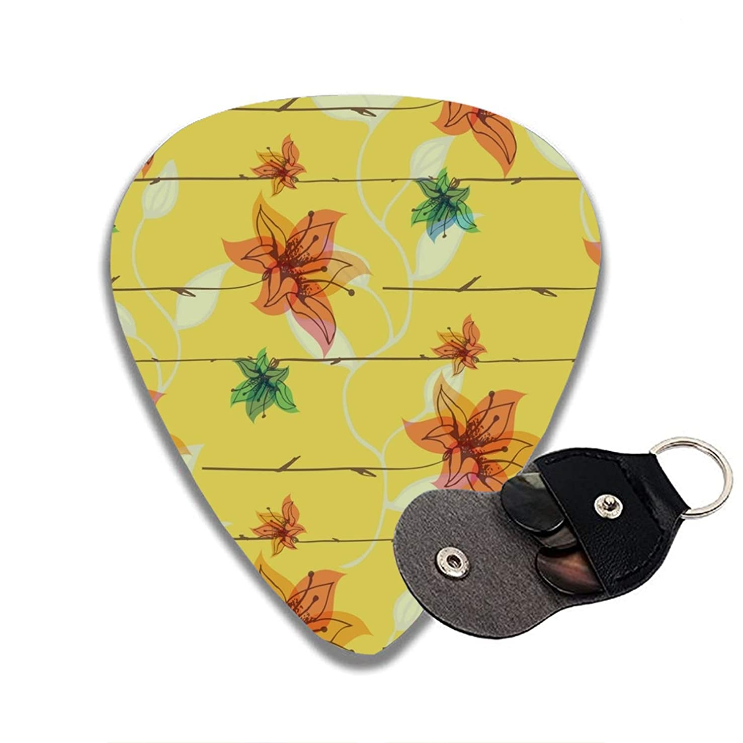 Guitar Picks Petals On A Yellow Background Celluloid Thin Medium Heavy Bass 3D Printed Variety Pick Small Music Gifts Grip -6pcs