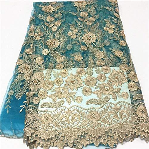 PENVEAT Afrikanisches blauen Spitze-Gewebe-Hochzeitskleid Französisch Nigerian Tüll Netto Fabrics günstiger Preis Großhandel Tüll Spitze Stoff mit Perlen, PL1200504F108