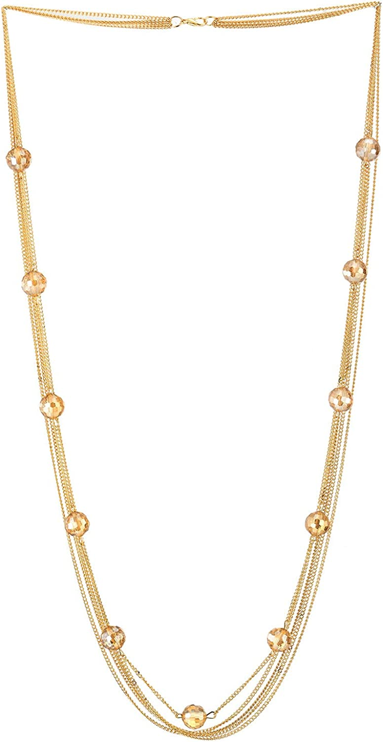 Gold Color Statement Necklace Multi-strand Long Chains with Champagne Faceted Crystal Balls, Dress