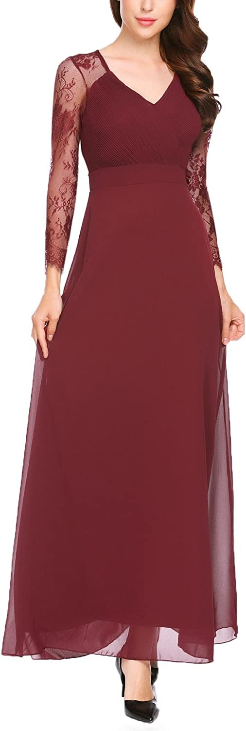 ANGVNS Women's Elegant Floral Lace Long Sleeve Empire Waist Evening Party Maxi Dress Gown