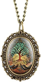 YXZQ Pocket Watch, Creative Abstract Tree On Hands Display Quartz Bronze Pendant Necklace Lady Jewelry Clock Fob Watch Gift Hour