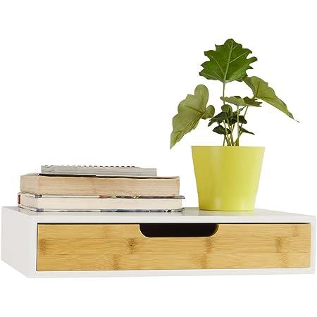 SoBuy® FRG92-WN Étagère Murale avec tiroir en Bois et Bambou, Armoire à clés, Porte-clés Meuble d'entrée de Rangement L40xP24xH8cm