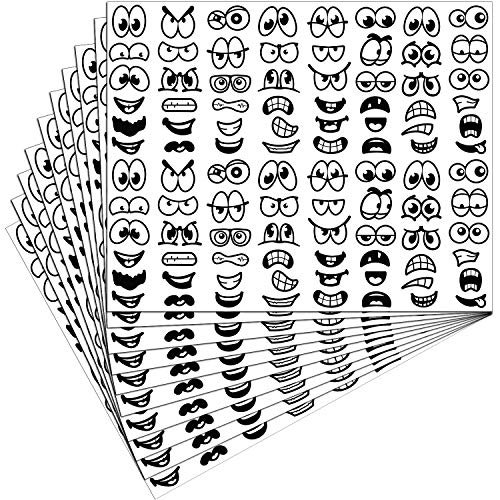 960 Halloween Pieces Stickers Eyes Mouth Stickers Cartoon Stickers Labels for Art Craft DIY Scrapbook (Black)