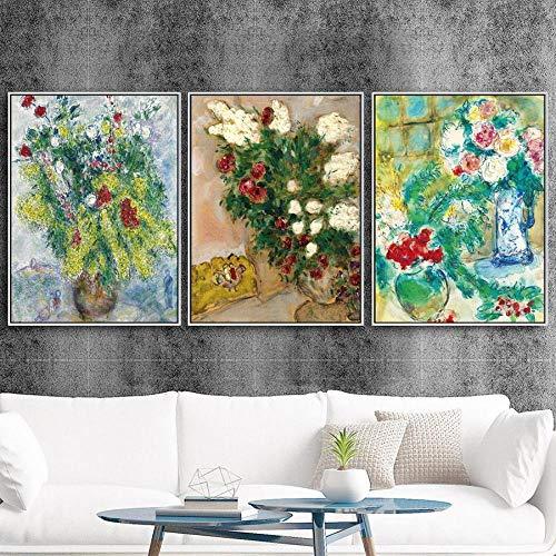 Marc Chagall Flores Poster e impresión Planta Lienzo Arte de la Pared...