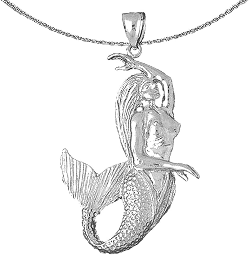 Jewels Obsession Max 67% OFF Silver Mermaid Max 40% OFF 3D 925 Necklace Rhodium-plated