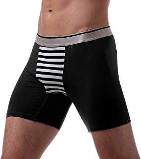 Men's Boxer Briefs Breathable Underwear Cotton Long Leg Sport Underwear