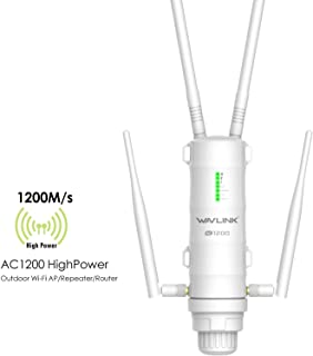 [Newest 2019] WAVLINK Dual Band 2.4+5G 1200Mbps Outdoor PoE Access Point, 4 in 1 Weatherproof Wireless AP/Exterior Router/WISP/WiFi Repeater Range Extender Internet Amplifier Network Signal Booster