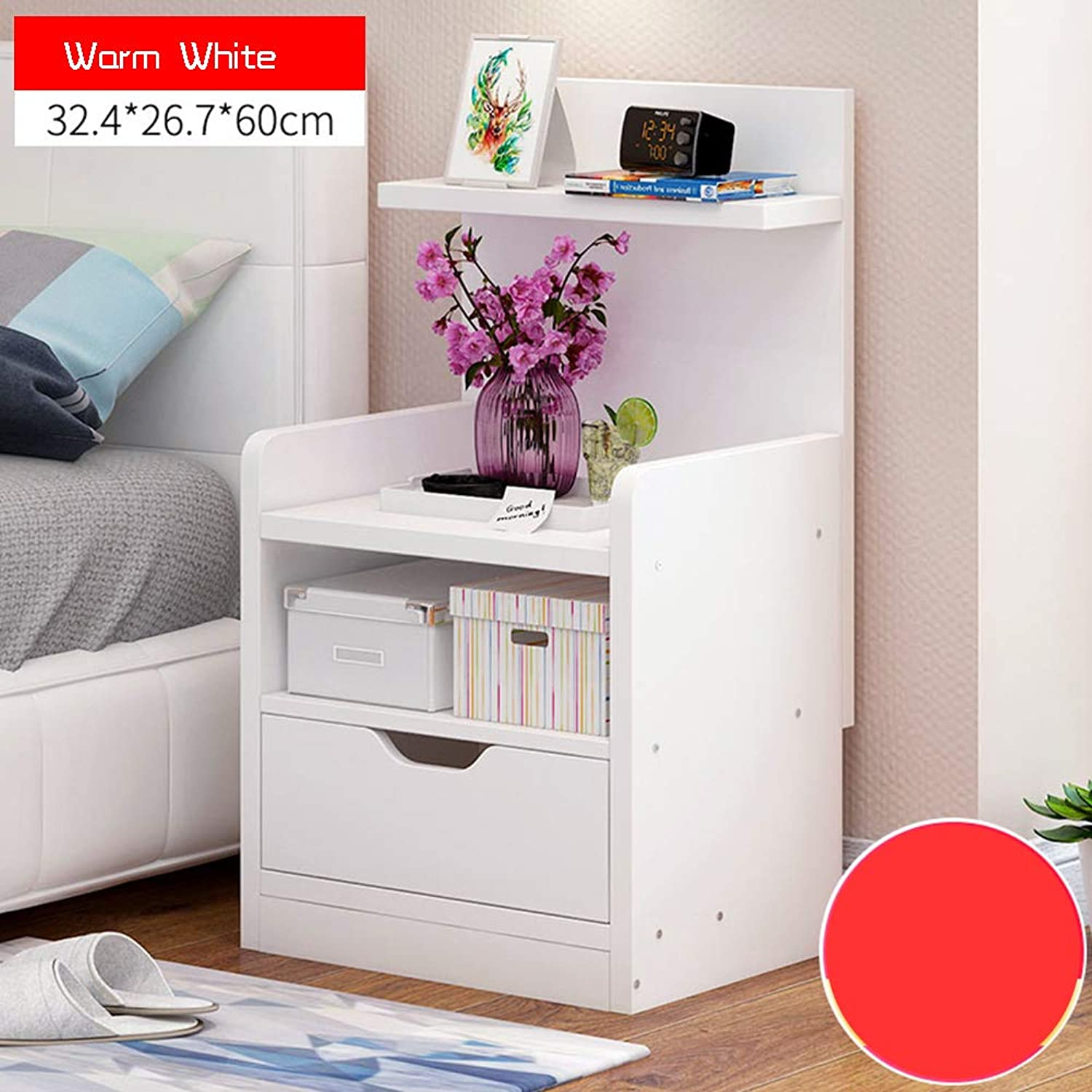 Coffee Table Bookcase, Tree Type Double Drawer Implicit Form Handle Partition Storage Used for Student Dormitory Study 3 colors (color   Wram White)