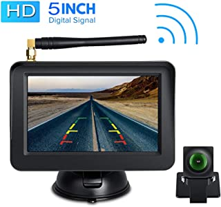 Directtyteam HD Digital Wireless Backup Cam Rear View Camera 5 LCD Monitor System Parking Reverse Safety for Cars, Vans, SUVs, Mini RV, Campers Front/Rear View Camera Super Night Vision Waterproof