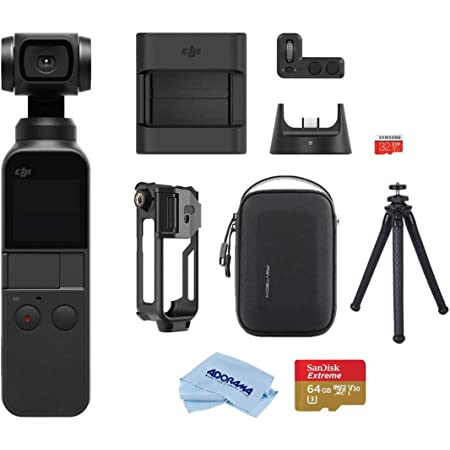 DJI Osmo Pocket Handheld 3 Axis Gimbal Stabilizer with Integrated Camera, Attachable to Android (USB-C), iPhone, Bundle with Expansion Kit, FotoPro UFO 2 Tripod, PolarPro Mount, 64GB SD Card, Case