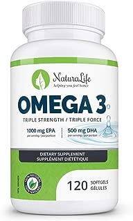 Triple Strength Omega 3 Fish Oil Capsules | High EPA & DHA | 120 Burpless Pills | 1000mg | 100% Natural Essential Fatty Acids | Naturalife Organic Omega-3 Supplement