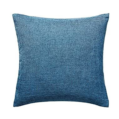 U'Artlines Pillowcase Covers, Pillow Case Decorative Cushion Cover Pillowcase for Sofa Cotton Linen Pillow Cover,Blue,22 x22
