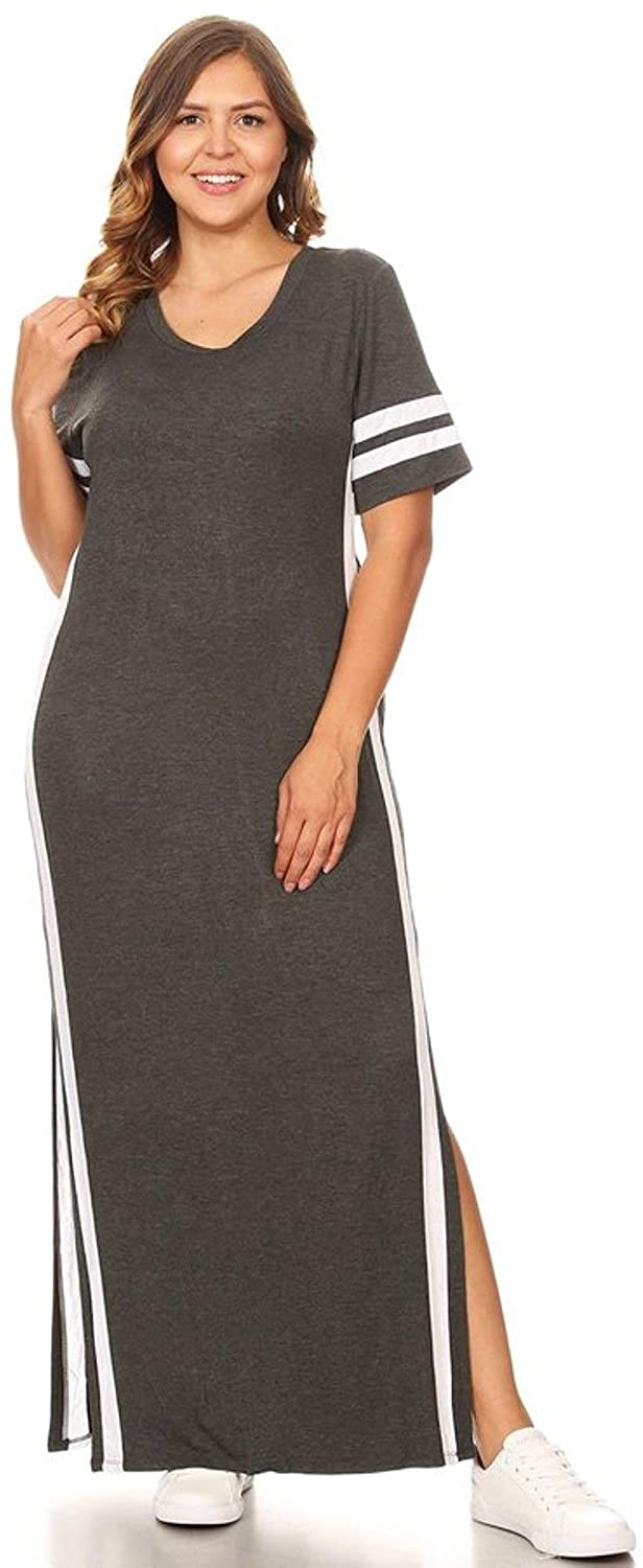 Direct stock discount Raleigh Mall SWEETKIE Striped Maxi Dress Short Slits Side Plus Siz Sleeved