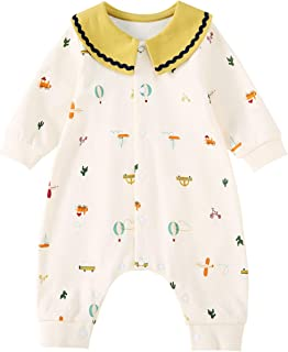 pureborn Baby Girl Jumpsuit Cute Coverall Pajamas Onesie Long Sleeve 0-24 Months