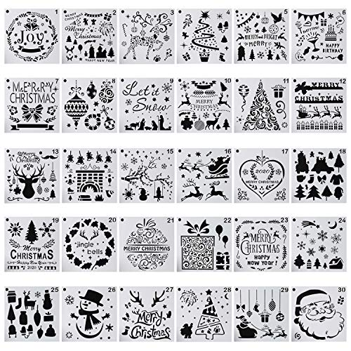 30-Pack (6x6 Inch) Christmas Decoration Stencils Painting and Drawing Stencil Template for Wood Slice Gift Card Floor Wall Tile Fabric Wood Burning Art DIY -reuseable