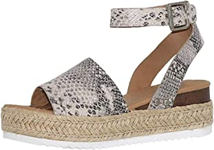 JJLIEKR Women Snake Leopard Wedges Platform Chunky Sandals Espadrille Ankle Buckle Strap Peep Toe Shoes Summer Fashion